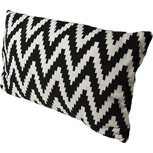 Hugo Frosch Unisex Lebensart Designer Cushions with Integrated Eco Wärmflasche, schwarz/weiß, 60 x 40 cm