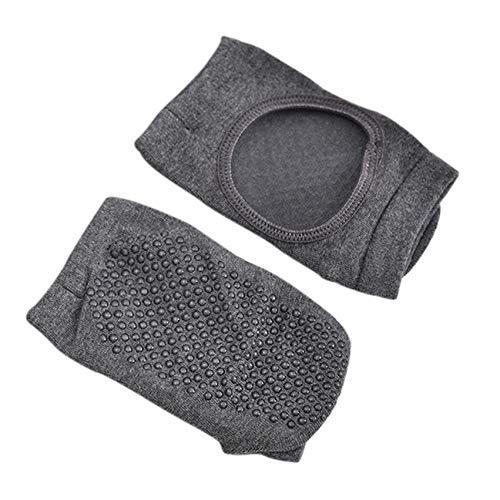 LPOQW Calcetines de yoga con dos dedos de los pies para yoga, pilates, calcetines antideslizantes para pilates con puños sin dedos antideslizantes para barra, gris oscuro