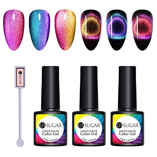 UR SUGAR 7,5ml Cat Magnetische Gel 9D Gellack UV Nagellack Set Magnetische Magie Chamäleon Nagelgel Farben 3pcs+1pc Magnetische Stock (Schwarze Basis Benötigt)