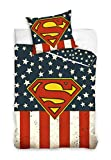 DHestia - Superman América Juego de Cama 100% Algodón Funda Nórdica + Funda Cojín. 160x200 cm - Cama 90
