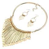 Yazilind 18K Ethnique Style Tassel Pendentif Goutte d'or False Statement Necklace Collier de 18K Femmes avec Boucles d'oreilles