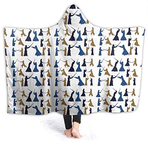 Fleece Blanket Sudadera con Capucha De Kendo Japonesa 204Cmx153Cm Manta De Forro Polar Duradera Sala De Estar Cozy Luxury Soft Lightweight Bed Car Large Winter All Season Home War