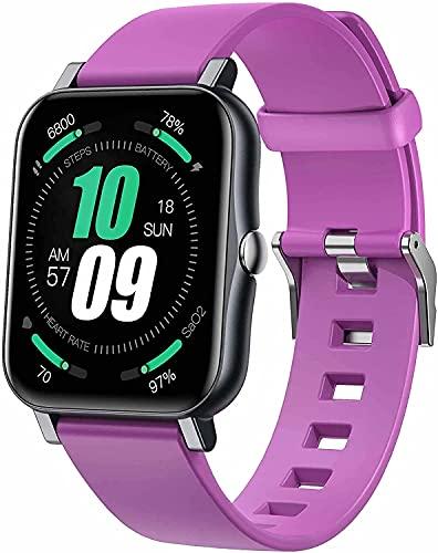 Reloj Inteligente con presión Arterial/oxígeno de Sangre/Monitor de Ritmo cardíaco Calorie Fitness Tracker IP68 Reloj Deportivo Impermeable, Adecuado para iOS Androide (Color : A)