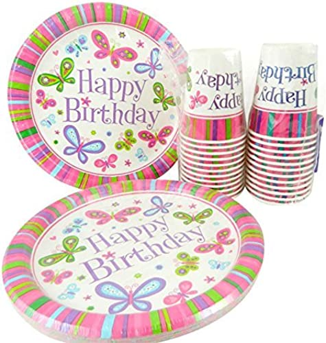 100% autentico Happy Birthday Butterfly Butterfly Butterfly Girl Dinner Plates and Cups for 24 by Party  perfecto
