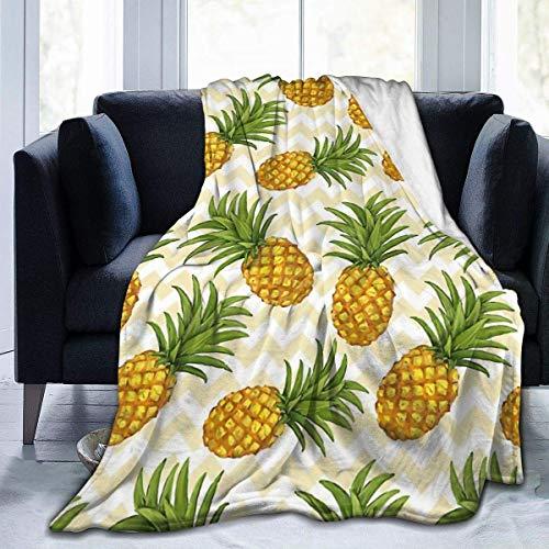 Hoswee Kuscheldecken,Überwürfe Ultra-Soft Micro Fleecedecke Striped Pineapple Throw Blanket Warm Blanket Soft Fleece Throw Blanket for Sofa Couch - All Season Premium Bed Blanket 80 X 60 Inches