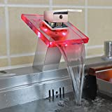 LED Bathroom Sink Faucet, Harrahs Single Handle Water Power Waterfall...
