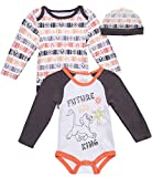 Disney Baby Boys Newborn Long Sleeve Bodysuits (2 Pack) with Fun Character Hat, Size 3-6 Months, White Lion King'