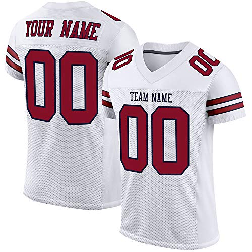 Custom Stitched Football Jerseys -Make Your Own Jersey Shits for Men/Women/Youth- Personalized Team Uniform White-Crimson