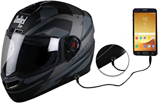 Steelbird SBA-1 R2K HF Full Face Helmet with Detachable Handsfree Device (580MM Medium, Matt Black/Grey with Plain Visor)