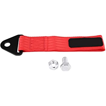 Red Universal Racing Tow Strap High Strength Tow Rope for Front Rear Bumper Towing Hook Black