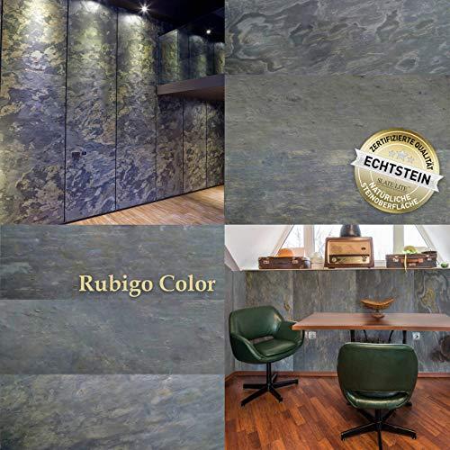 Wandverkleidung Schiefer Verblender Naturstein Steinwand - 7,44 m² KOMPLETT SET Rubigo Color Musterstück - DIN A4