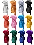 12 Pieces Silky Durag Caps Soft Long Tail Headscarf Elastic Wide Straps Headwraps for Women Men Favors, 12 Colors (Chic Mixed Colors)