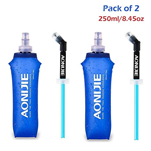 2Pack of Foldable Sports BPA PVC Free Soft Running Water Kettle Soft Hiking Flask Hydration Bottle (500ml)