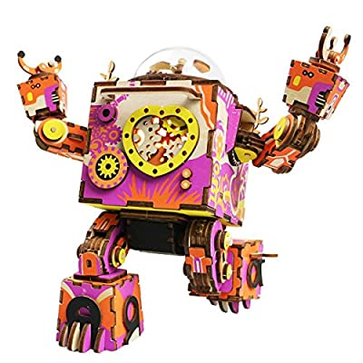 ROKR 3D Wooden Puzzle,DIY Music Box,Mechanical Robot Craft Kit Model,Colorful I Love You Robot Version,Ideal Gift for Women,Men,Girls When Christmas/Birthday/Valentine's Day