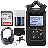 Zoom H4n Pro 4-Input/4-Track Portable Handy Recorder with Onboard X/Y Mic Capsule (Black) + Over-Ear Stereo Headphones + 32GB Memory Card + Table Tripod Hand Grip + 4 AA Batteries and Charger