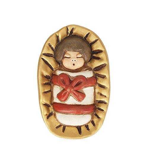 THUN® - Gesù Bambino nella Mangiatoia - Versione Rossa - Statuine Presepe Classico - Ceramica - I Classici
