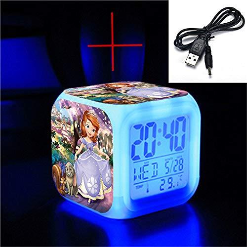 shiyueNB hoogwaardige LED nummer 7 kleurverandering wekker schattige cartoon prinses Sophia kind