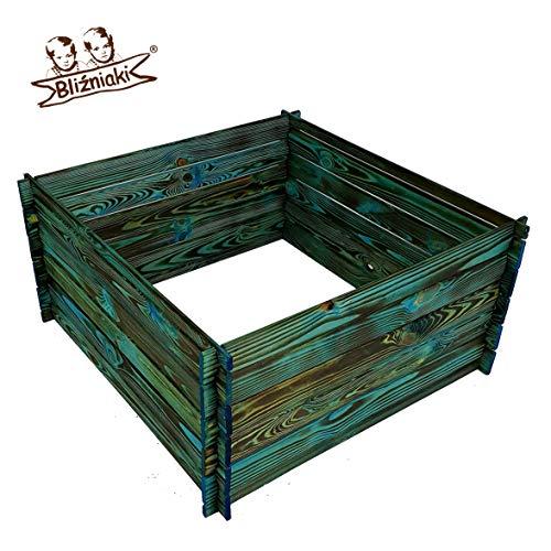 BLIZNIAKI Holzkomposter ECO Komposter 95 X 95 X 46cm Kompostbehälter Gartenkomposter Einfach zusammenzubauen Kompostsilo bausatz KOM1 Opal NB