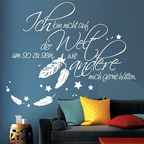 """Wandtattoo Loft """"Schriftzug """"Ich bin nicht auf der Welt um so zu sein, wie andere mich gerne hätten."""" mit Federn und Sternen"""" / Wandtattoo / Wandaufkleber / 54 Farben / 3 Größen / lavendel / 80 cm hoch x 99 cm breit"""