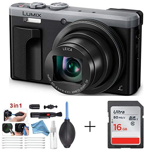 Panasonic LUMIX 4K Digital Camera ZS60 Silver (18MP, 24-720mm LEICA DC Lens Zoom) + 16GB SD Card + 3 in 1 Premium Cleaning Kit Pen Brush, Dust Blower, Exclusive DigitalAndMore Microfiber Cloth Bundle