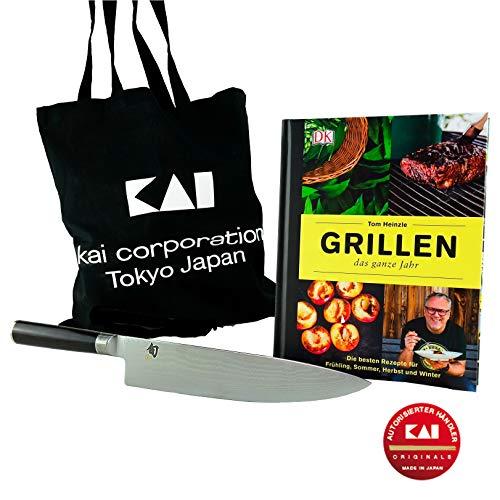 Kai SHUN Classic 3-TLG. BBQ-aanbiedingsset | Kai-koksmes (DM-0707) l 25,5 cm lemmet van 32-lagen damast | + grillen het hele jaar kookboek van Tom Heinzle | + kai-tas | VK: 239,95 €