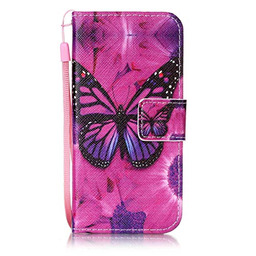 ISAKEN Compatibile con Samsung Galaxy A3 2016 Cover - Libro Wallet Flip Portafoglio Custodia in PU Pelle Colorate Pattern Anti Slip Caso con Supporto di Stand/Carte Slot/Chiusura - Farfalle Violet