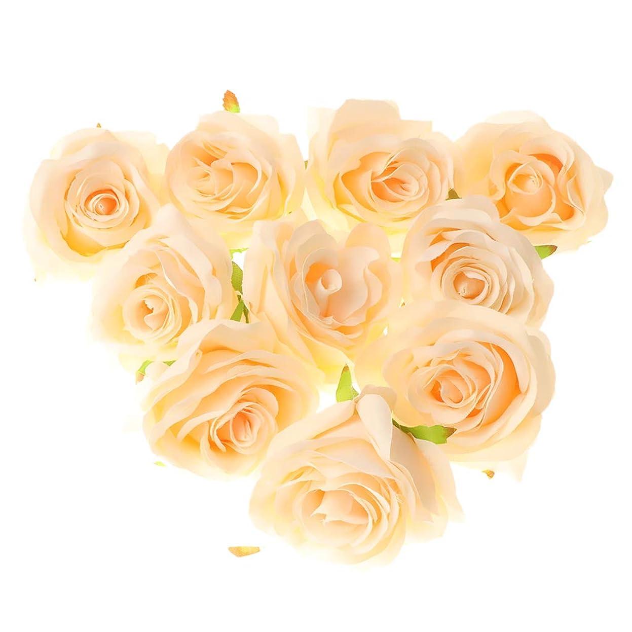 旋律的資源フラフープロマンチック シルクローズフラワー 人工花 造花 手作り用 パーティー装飾 DIY ウェディングブーケ 7色選べ - ベージュ
