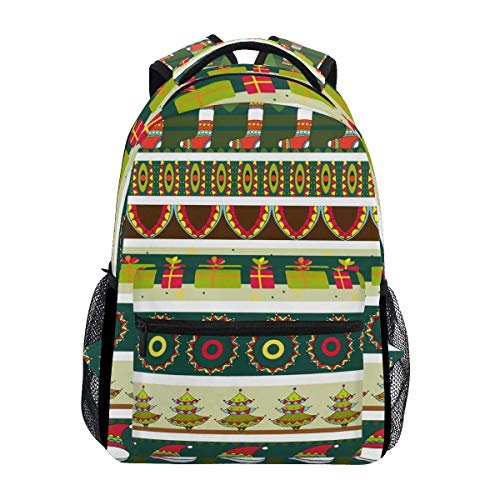 Bag Christmas Stripe Printed Durable Stylish Unique Backpack Casual Travel Shoulder Bag Lightweight School Student Gift College Bookbag