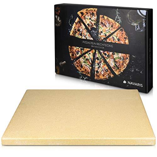 Navaris Piedra para pizza de cordierita - Piedra para horno rectangular para pizza o pan - Bandeja para parrilla barbacoa o grill - XL 38 x 30 x 1.5CM