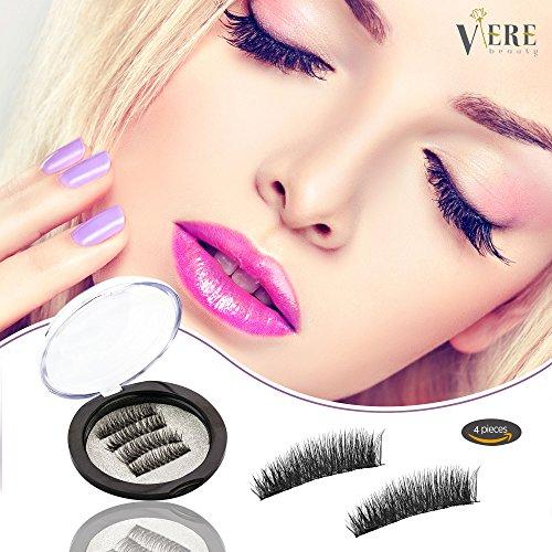 VereBeauty Magnetic False Eyelashes, 3D Black Dual Magnetic, Ultra Thick Ultra Solf And Long for Entire Eyes, Glamorous, Natural Look, Handmade Reusable Eyelashes (Black) 1 Pair/4Pcs