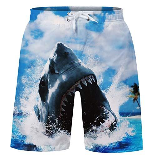 Funnycokid Badehose Jungen Shorts Sommer Hai Design mit Mesh-Futter Kinder Strand Wear Swim Badeshorts
