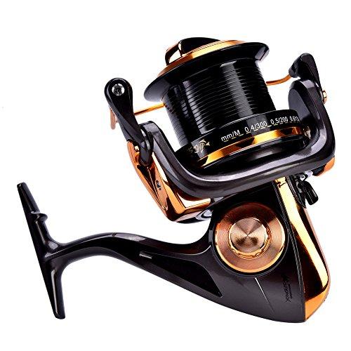Carrete de Spinning 12 + 1BB Carretes de Pesca de Alta Velocidad de Fundición Metálica para Pesca Agua Salada de Agua Dulce(11000)
