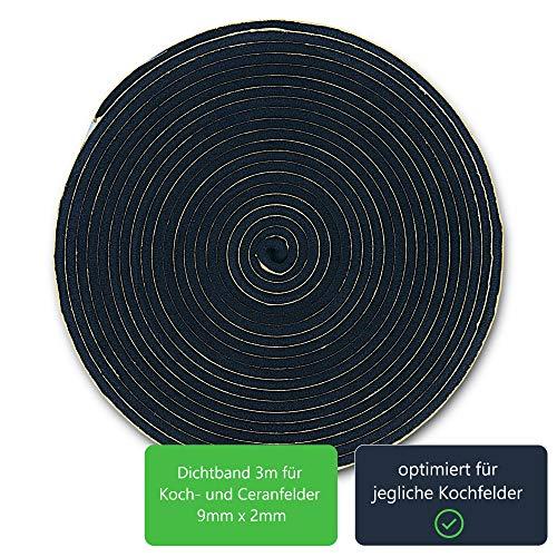 Dichtband Dichtung 9mm(B) x 2mm(D) zur Montage von Kochfeldern ceranfeld ersatzteilshop basics 3m Montageband