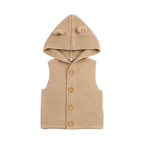 domybest ovillo de chaleco Moda Niños Niñas Niños suéteres para niños orejas estilo con capucha chaleco marrón marrón Talla:18-24m