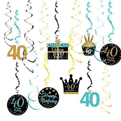 40th Birthday Decorations for Women Teal Gold 40th Birthday Hanging Swirls Hanging Swirls Decorations for Teal Gold 40 Years Old Party Supplies