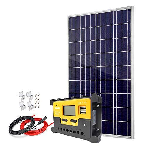 Kit de panel solar policristalino de 100 W con controlador de carga y cables de alta eficiencia 12 V 24 V cargador de batería para el sistema de red de hogar apagado