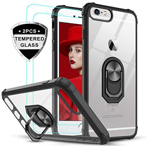 LeYi für iPhone 6/iPhone 6S Hülle mit Panzerglas Schutzfolie(2 Stück), Ringhalter Schutzhülle Crystal Clear Acryl Cover Bumper Handy Hüllen für Case Apple iPhone 6S/iPhone 6 Handyhülle Schwarz