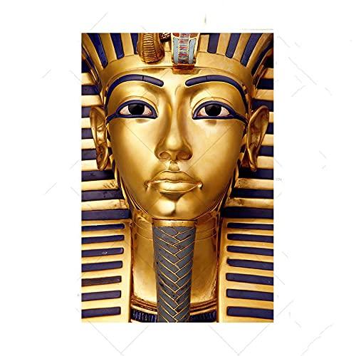 LGHLJ Alte ägyptische Pharao Leinwand Bild Poster und Kunstdrucke Tutanchamun Goldene Farbe Wand Bilder Bilder für Wohnzimmer Dekor Kein Rahmen-70x90cm