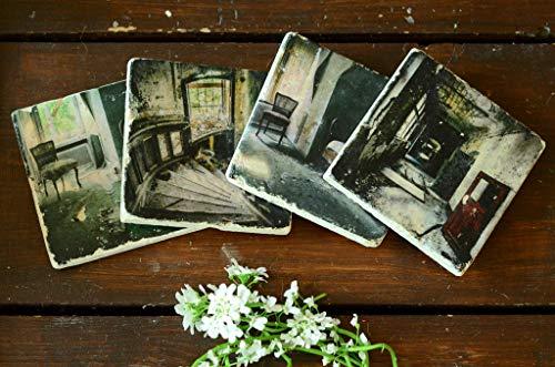 4er Set Untersetzer lost Place verlassenes Haus aus Travertin Stein Fliese, handmade coaster
