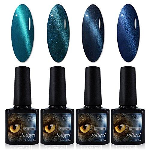 4x Esmaltes Semipermanentes Magnéticos para Uñas, Gel Shellac UV LED para Manicura Pedicura Nail Art, Ojo de Gato 3D, Imán Gratis, 10ML (Serie Turquesa / Azul océano)