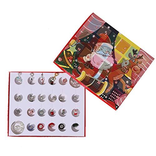 ATATMOUNT Cuenta regresiva de Navidad Calendario de Adviento Joyería Caja de Regalo DIY Pulsera Colgante Accesorios Set para Mujeres Niñas