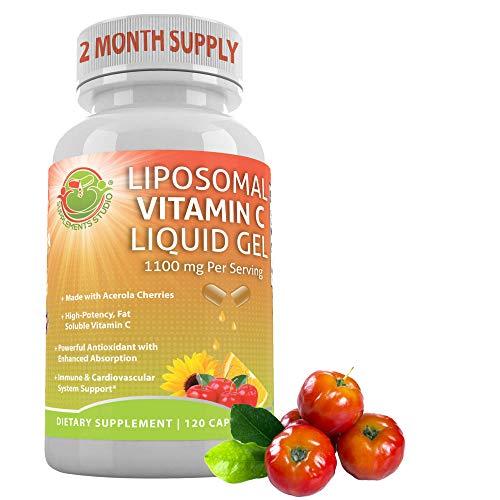 Supplements Studio Liposomal Vitamin C Liquid Gel Organic Acerola Cherries & Sunflower Lecithin, Enhanced Absorption & Bioavailability, High Potency, Natural, 1100 mg 120 DRcaps, Gluten Free, Non-GMO
