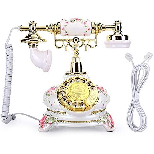 VERDELZ Teléfono Fijo Fijo Teléfono Retro Dial Giratorio Vintage Teléfonos Antiguos Escritorio Fijo con Cable Fijo Estilo Rural Teléfonos Antiguos para Oficina En Casa Hotel
