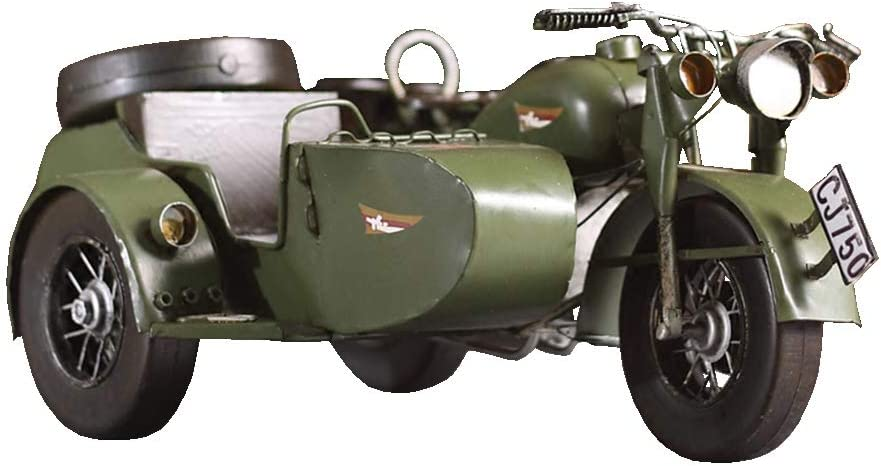 Retro Three-Wheeled Motorcycle Large-scale sale Model Car Mail order cheap Tin Crafts Simulation