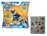 Paw Patrol Mighty Pups Super Paws Chase Figure with One 12 Stickers Sheet Bundle (2 Items)