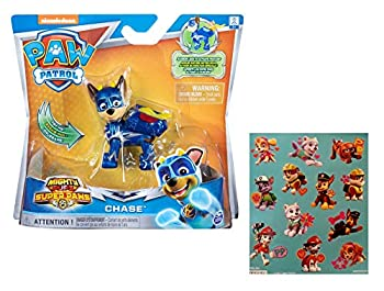 Paw Patrol Mighty Pups Super Paws Chase Figure with One 12 Stickers Sheet Bundle  2 Items