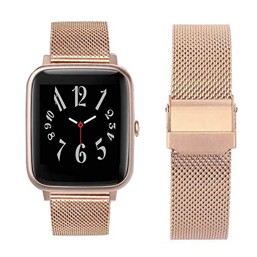 ID205L Smart Watch Bands, ViCRiOR Quick Release Mesh Woven Stainless Steel Replacement Bracelet Bands Strap Wrist Band for ID205L, ID205G ID205 ID205U ID205S, Rose Gold