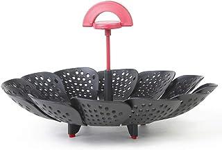 HighlifeS Food Steamer Lotus Type Retractable Folding Fruit Basket Portable Convenient Steamer Folding Basket (Black)