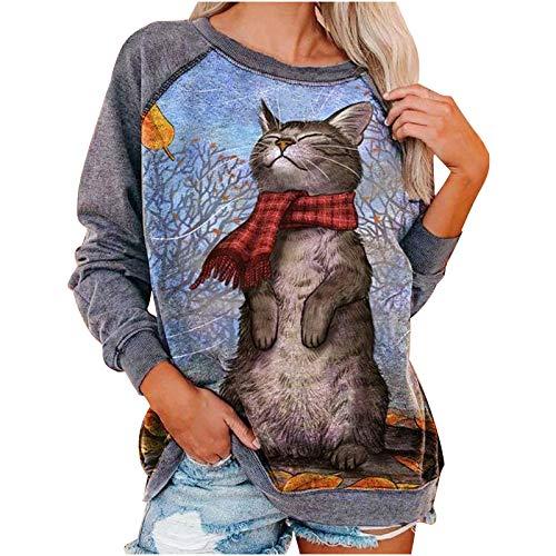 Frauen drucken Sweatshirt Damen lässig Katzendruck Zur Seite Fahren Plus Size Langarm O-Ausschnitt Patchwork Top Bluse(M,Blau)