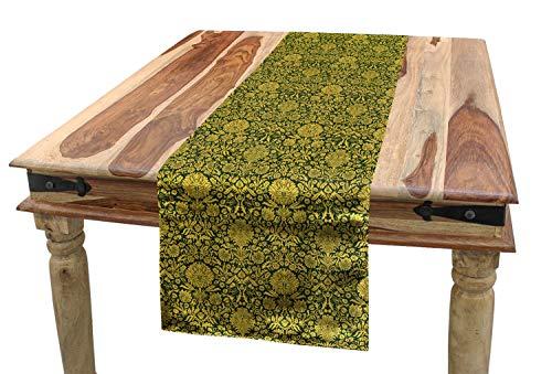 ABAKUHAUS Floral Camino de Mesa, Barroco Adorno de Las Flores, Decorativo para el Comedor o Sala de Estar Fácil de Limpiar, 40 x 180 cm, Verde Amarillo Tierra